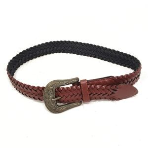 Accessories - Braided Leather Brown Belt Embossed Buckle Womens
